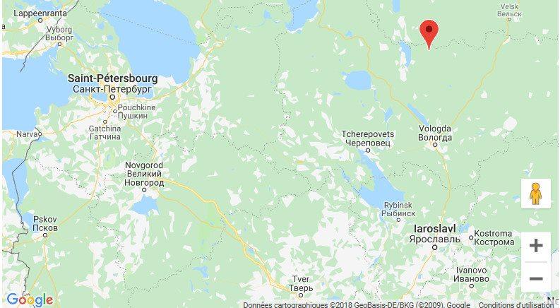 Localisation de l'équipe de Denis - Région de Vologda