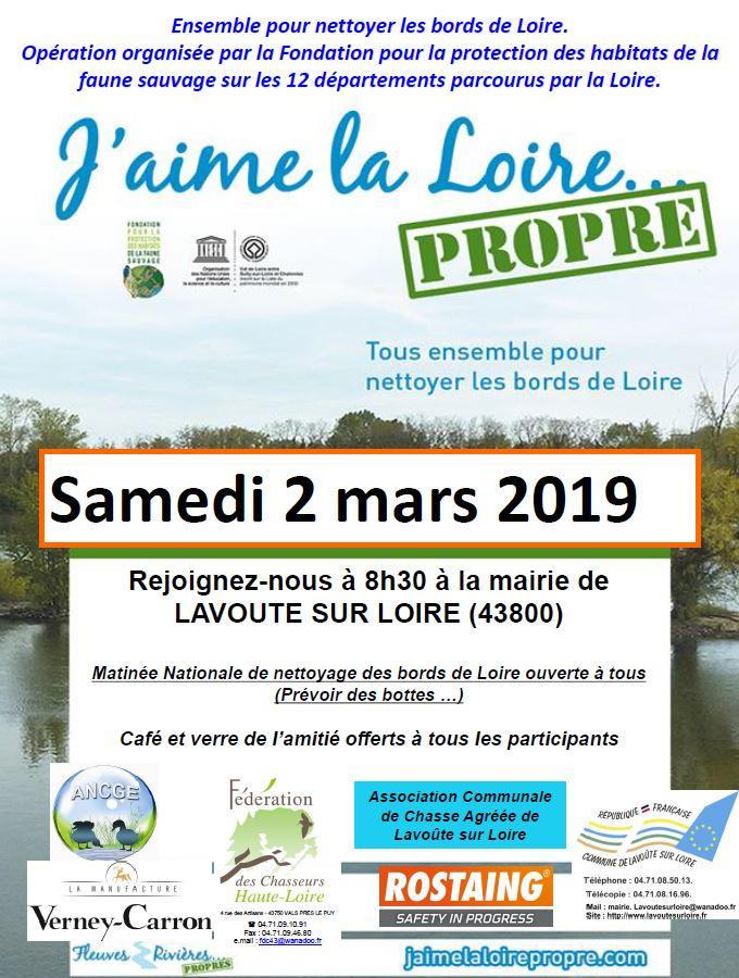 """10 ème édition de l'opération """"J'aime la Loire ….Propre"""" samedi 2 mars à Lavoûte sur Loire"""