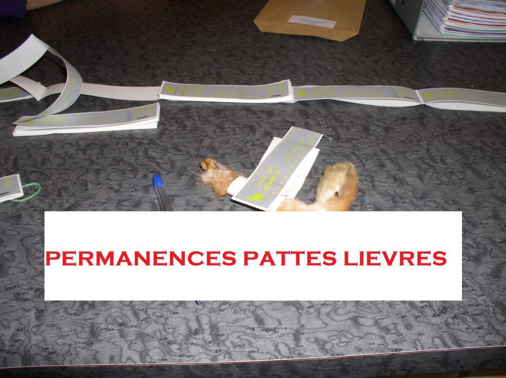Permanences récupération bracelets Lièvres 2018/2019