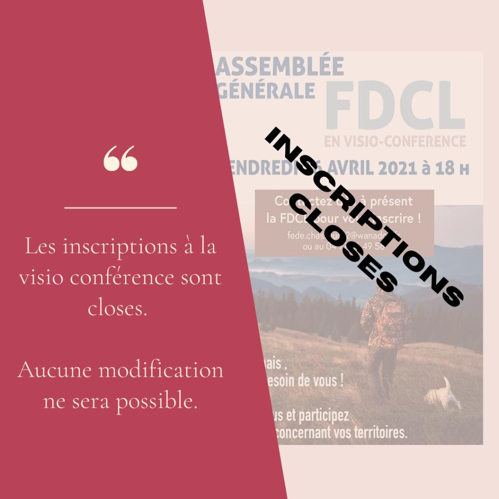 ASSEMBLEE GENERALE 2021 FDC42 – inscriptions fermées