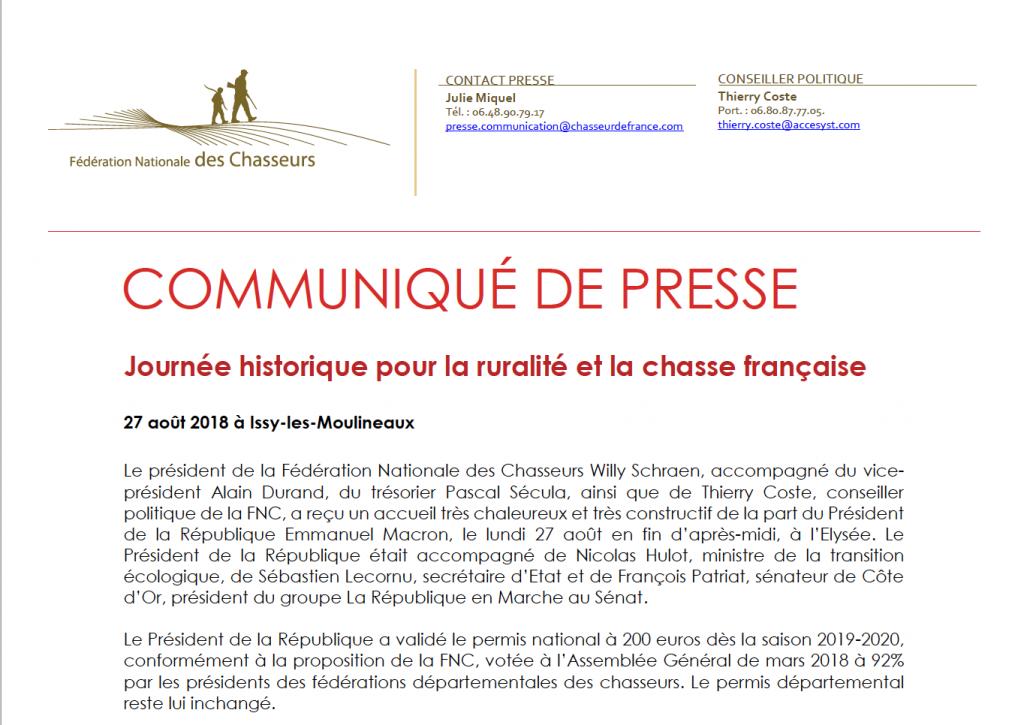 Communiqué de presse : journée historique pour la ruralité et la chasse française