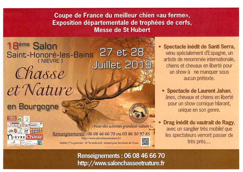 Salon Chasse et nature en Bourgogne à Saint HONORE, 27 et 28 juillet 2019.